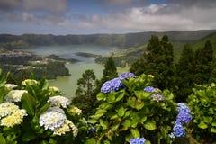 Agoa Verde e Lagoa Azul em Açores Fotografia de Stock