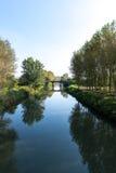 Agogna rzeka z mostem, Ceretto Lomellina (Włochy) Fotografia Royalty Free