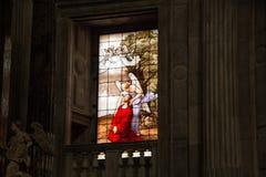 Agonia jezus chrystus w Oliwnym halnym Getsemane ogródzie, pocieszająca aniołem Szczegół witrażu okno w t Zdjęcie Royalty Free