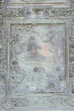 Agony in the Garden. Artwork from the school of Giambologna, panel from the bronze door on the right of the Cathedral St. Mary of the Assumption in Pisa, Italy stock photos