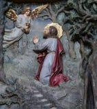 Agony in the Garden. Jesus in the Garden of Gethsemane, altarpiece in church of Saint Matthew in Stitar, Croatia stock photos