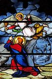 Agony in the Garden. Stained glass window in Saint Severin church in Paris, France stock photos
