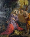 Agony in the Garden, Jesus in the Garden of Gethsemane Royalty Free Stock Photo