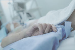 Agony of irremediable patient in ICU Royalty Free Stock Images
