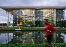 Agora building Council of Europe Strasbourg France man jogging Royalty Free Stock Images