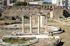 Agora dichtbij Akropolis van Athene, Griekenland Stock Fotografie