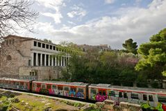 Agora museum and Acropolis Stock Images