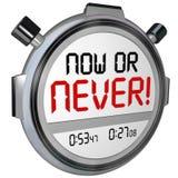 Agora ou nunca fim do prazo Procrastinatio da oportunidade do temporizador do cronômetro Fotografia de Stock