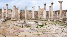 Agora oude markt in Jerash-stad Stock Afbeelding
