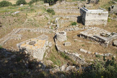 Agora of Troy. Remains of the buildings near the agora of Troy, possibly Priam's city of the Iliad, . Turkey Royalty Free Stock Photo