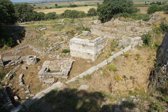 Agora of Troy. Remains of the buildings near the agora of Troy, possibly Priam's city of the Iliad, . Turkey Stock Photography