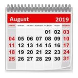 Agosto 2019 illustrazione vettoriale