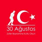 30 agosto bayrami dello zafer o Victory Day Turkey e la festa nazionale Illustrazione di vettore Insegna rossa e bianca Fotografia Stock Libera da Diritti