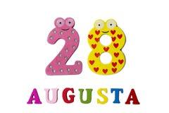 28 agosto Calcoli il 28 agosto, il primo piano dei numeri e le lettere su un fondo bianco Fotografie Stock