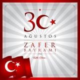 30 agosto, carta di celebrazione di Victory Day Turkey royalty illustrazione gratis