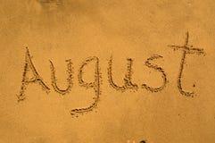 Agosto en la arena Imágenes de archivo libres de regalías