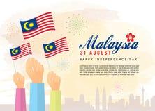 31 agosto, festa dell'indipendenza della Malesia - cittadino che tiene le bandiere della Malesia con l'orizzonte della città illustrazione di stock