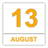 13 agosto Giorno sul calendario Fotografia Stock