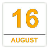 16 agosto Giorno sul calendario Fotografia Stock Libera da Diritti