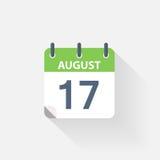 17 agosto icona del calendario Immagini Stock