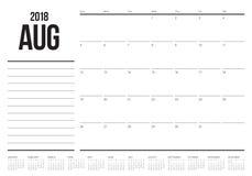 Agosto 2018 illustrazione di vettore del calendario del pianificatore illustrazione di stock