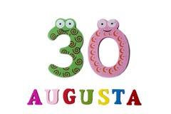 30 agosto Immagine del 30 agosto, del primo piano dei numeri e delle lettere su fondo bianco Fotografie Stock Libere da Diritti