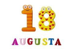 18 agosto Immagine del 18 agosto, del primo piano dei numeri e delle lettere su fondo bianco Fotografia Stock