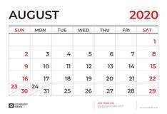 Agosto 2020 Calendario.Agosto 2020 Modello Del Calendario Dimensione 9 Del Layout