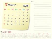 Agosto 2018 progettazione di carta della nota del calendario illustrazione vettoriale