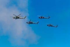 6 agosto 2016 Rjazan', Russia Gli elicotteri dei militari Fotografie Stock Libere da Diritti