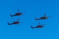 6 agosto 2016 Rjazan', Russia Gli elicotteri dei militari Fotografie Stock