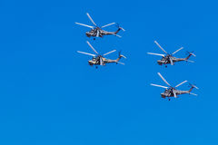 6 agosto 2016 Rjazan', Russia Gli elicotteri dei militari Immagine Stock