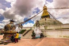 18 agosto 2014 - tempio di Boudhanath a Kathmandu, Nepal Fotografie Stock Libere da Diritti
