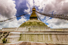 18 agosto 2014 - tempio di Boudhanath a Kathmandu, Nepal Fotografia Stock Libera da Diritti