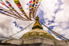 18 agosto 2014 - tempio di Boudhanath a Kathmandu, Nepal Fotografia Stock