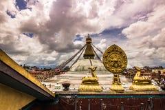 18 agosto 2014 - tempio di Boudhanath a Kathmandu, Nepal Immagine Stock Libera da Diritti