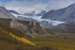 26 agosto 2016 - vista dell'allerta dell'Alaska del ghiacciaio fuori da Richardson Highway, itinerario 4 Fotografia Stock