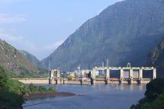 Agoyan vattenkraftväxt nära Banos, Ecuador Arkivfoto