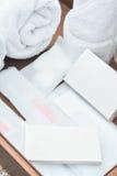 Agréments de salle de bains dans l'hôtel Photos stock
