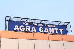 Agra train railway station India. Agra Cantt railway station signage in Agra India Stock Images