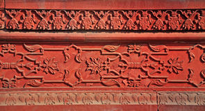 Agra Fort - Carved Stone Panel. The Fort at Agra Akbar is among the many Mughal Architectural highlights to be seen in Agra. The richness and artistry of design Royalty Free Stock Image