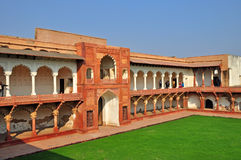 Agra Fort - Courtyard and Pavillion. The Fort at Agra Akbar is among the many Mughal Architectural highlights to be seen in Agra. The richness and artistry of Stock Photo