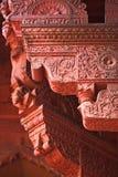 Agra-Fort: Dekoration des roten Sandsteins Stockfotografie