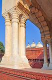 Agra Fort - Nagina Mosque Framed by Arch. The Fort at Agra Akbar is among the many Mughal Architectural highlights to be seen in Agra. The richness and artistry Stock Photography