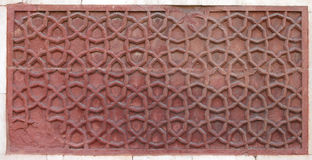 Beautifully carved floral pattern in Jhangir Palace. Agra Fort is 11th century Mughal Architectural Masterpiece Royalty Free Stock Photography