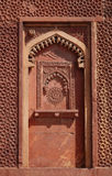 Intricate design and carving in Jahangir Palace. Agra Fort is 11th century Mughal Architectural Masterpiece Stock Photo