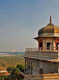 Agra Fort - View of Taj from Musamman Burj. The Fort at Agra Akbar is among the many Mughal Architectural highlights to be seen in Agra. The richness and Royalty Free Stock Photography