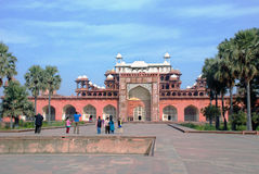 Agra. The Historical and Architectural complex of Sikandra the tomb of Mughul Emperor Akbar. Agra. The central building of the Historical and Architectural Royalty Free Stock Photos