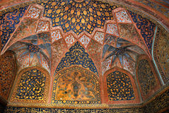 Agra. The Historical and Architectural complex of Sikandra the tomb of Mughul Emperor Akbar. Fragment of painted ceiling of the main tomb in complex of Sikandra Royalty Free Stock Photo