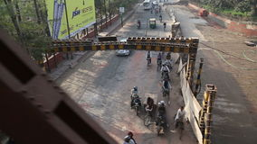 AGRA, INDIA - 26 FEBRUARY 2015: Cityscape view during slow train ride in Agra, India. stock video footage